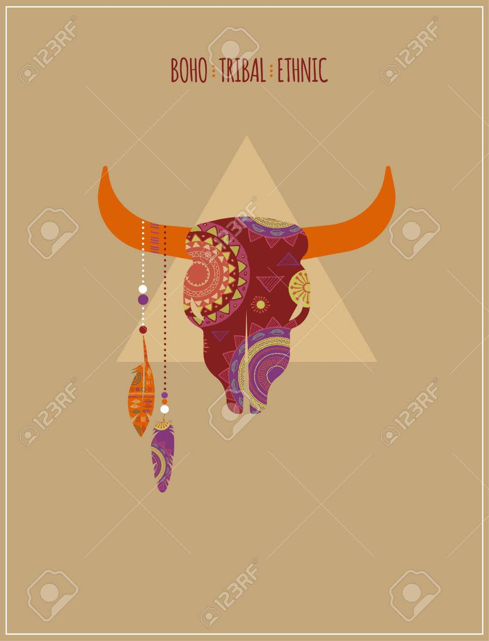 Bohemian, Tribal, Ethnic Background With Bull Skull Royalty Free ...