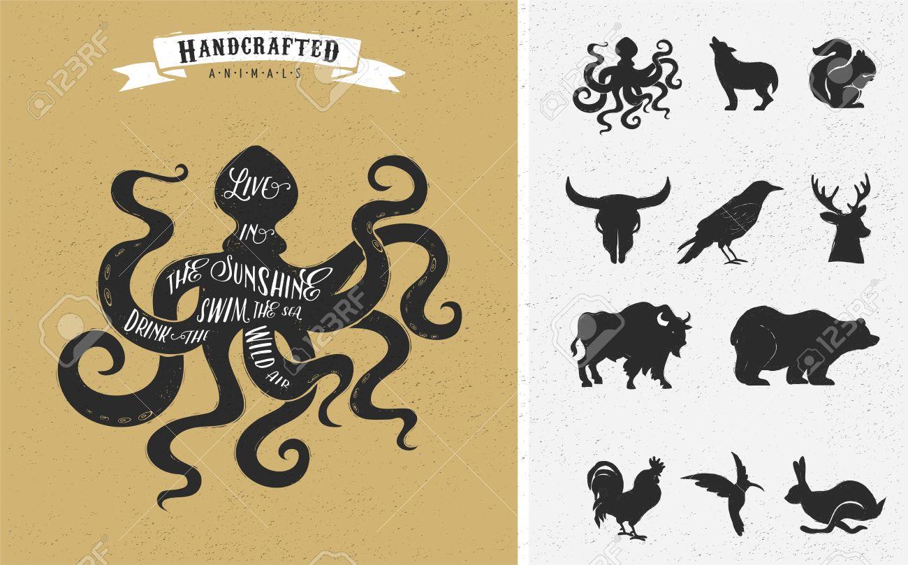 Shirt design octopus - Octopus Logo Inspiration Quote Hipster Vintage Design Set