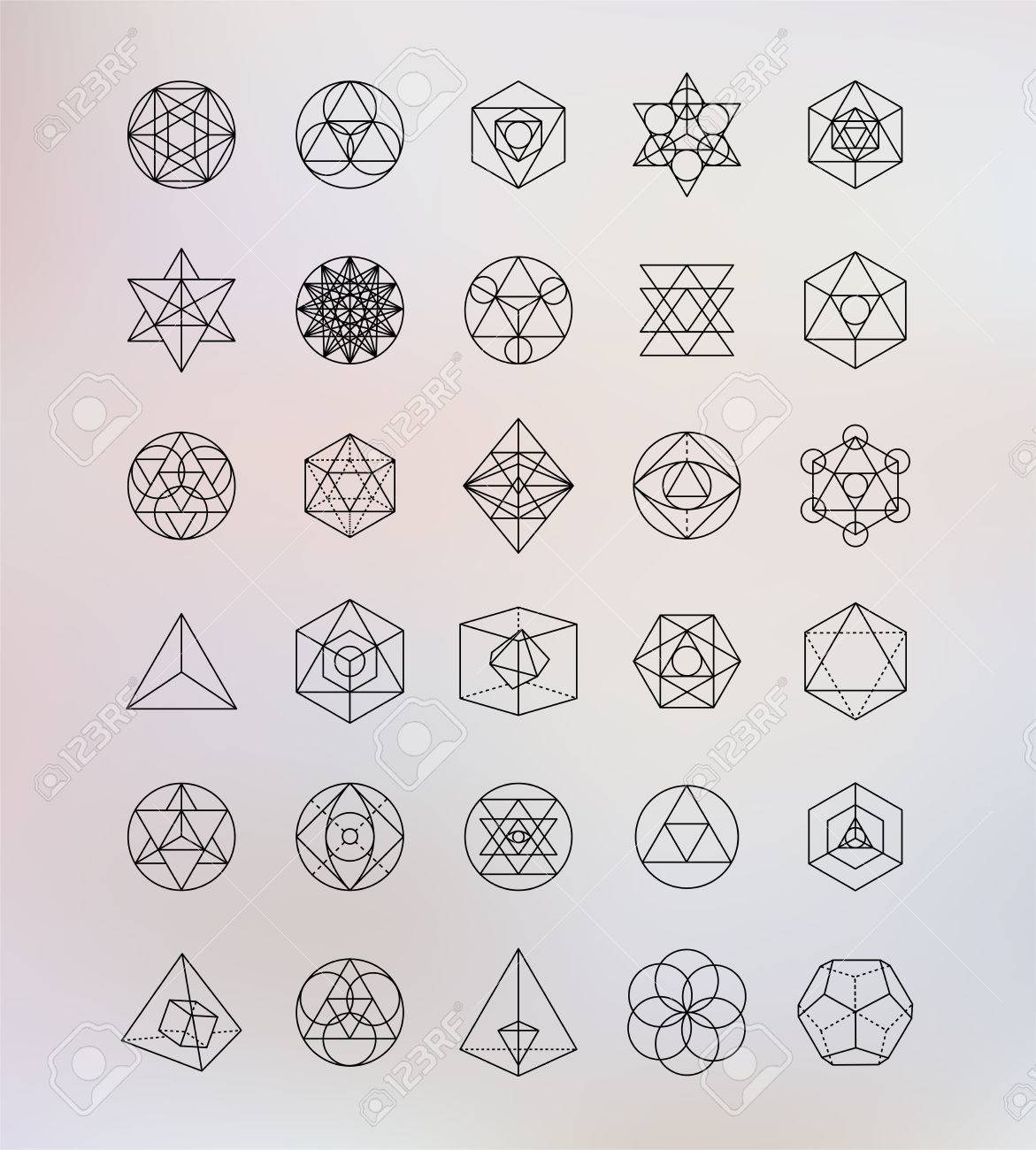 sacred geometry alchemy hipster symbols royalty free cliparts