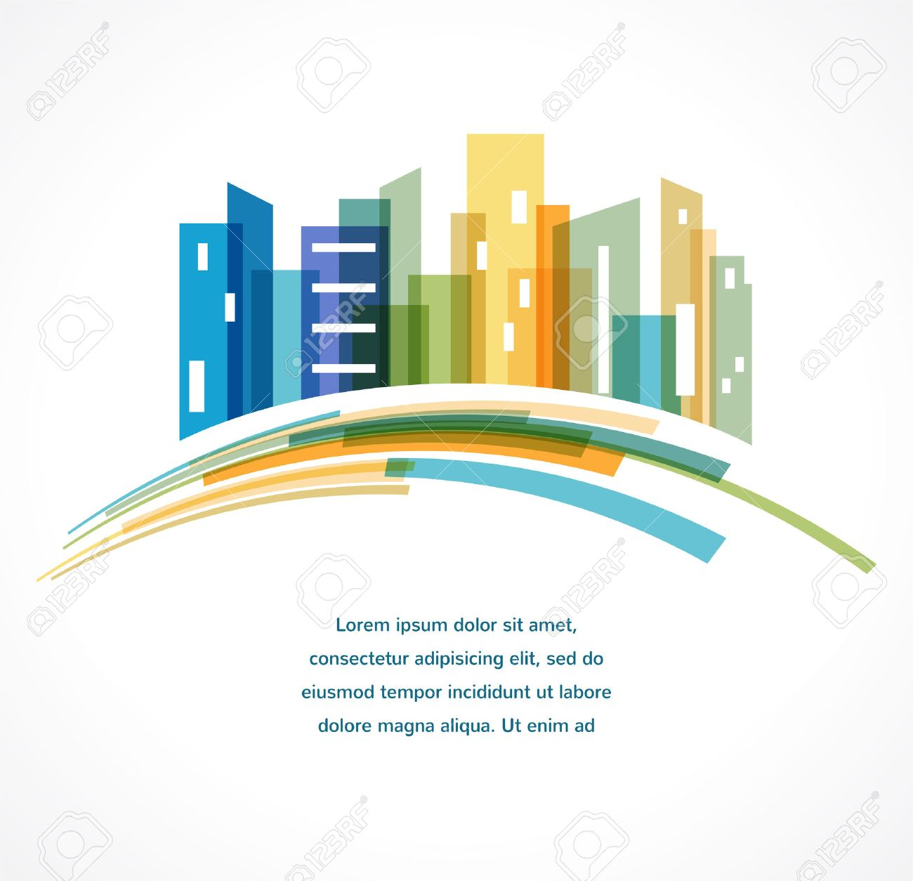 Colorful city, real estate and skyline background - 41200957