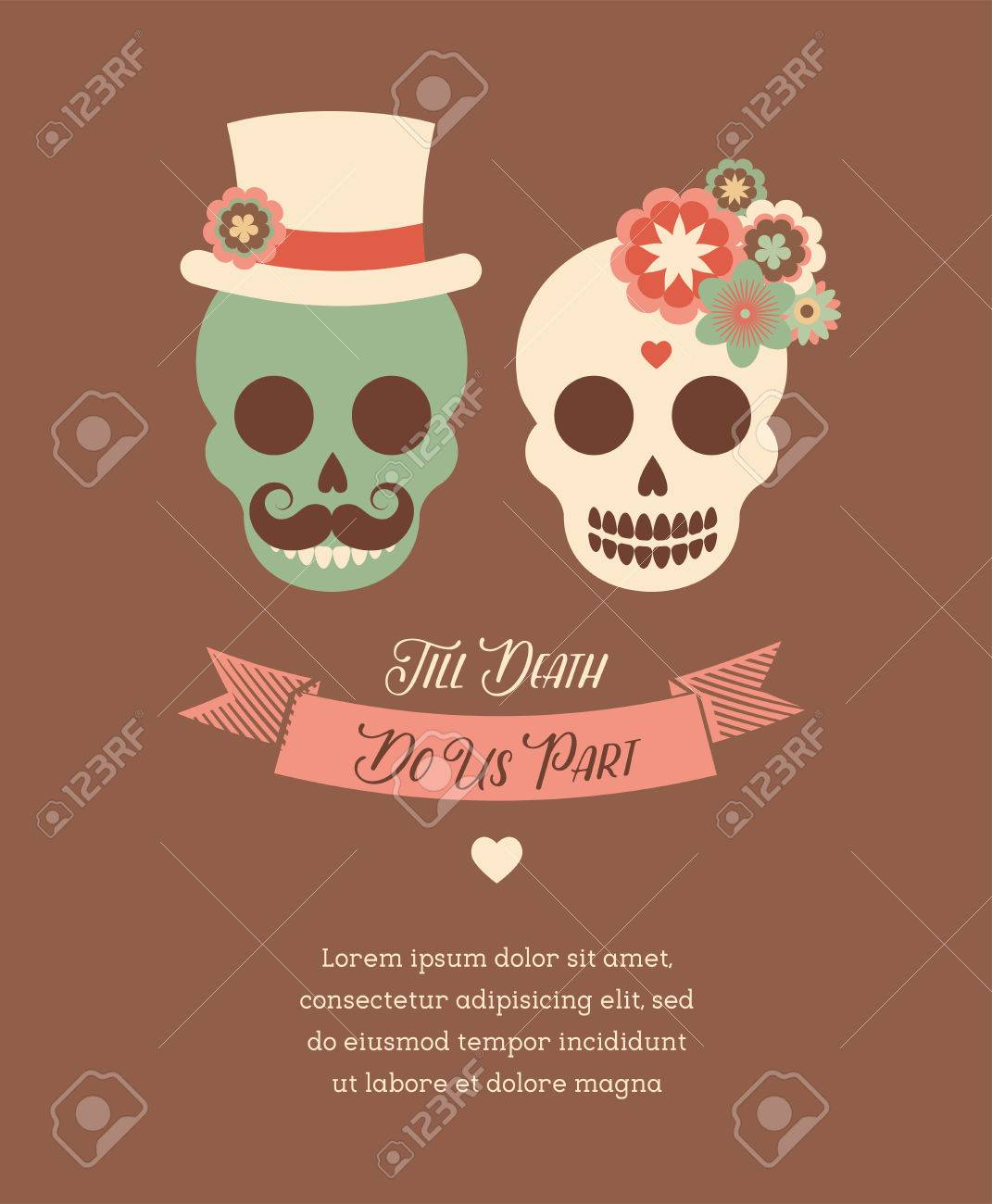 Mexican Wedding Invitation With Two Cute Hipster Skulls Royalty Free