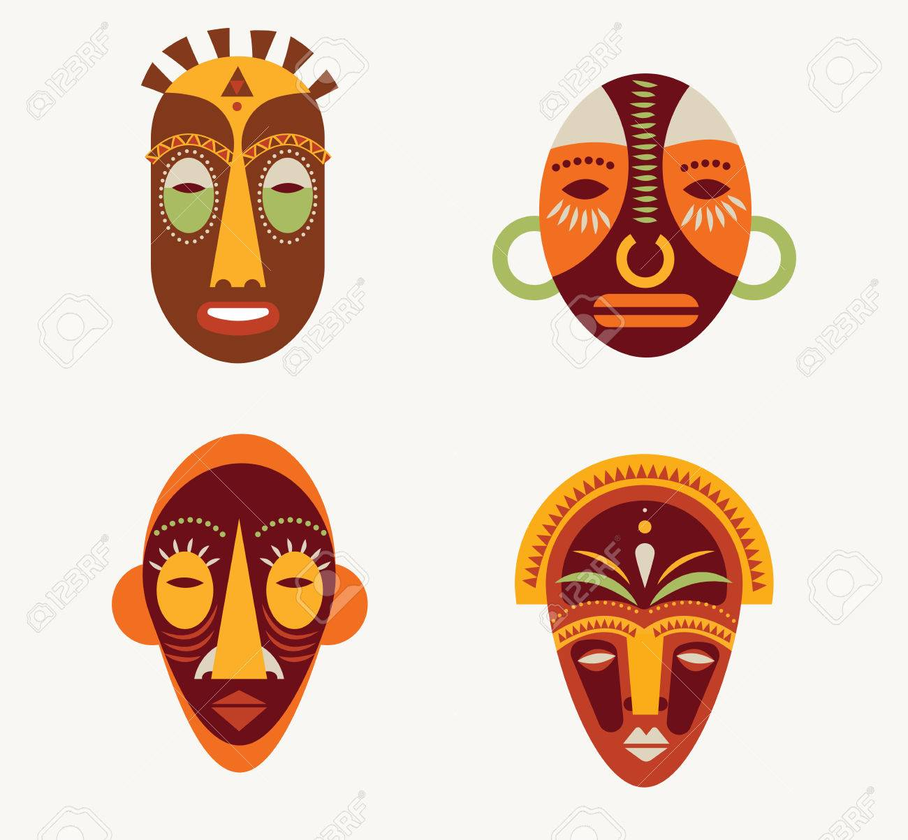 african masks set of icons royalty free cliparts vectors and stock