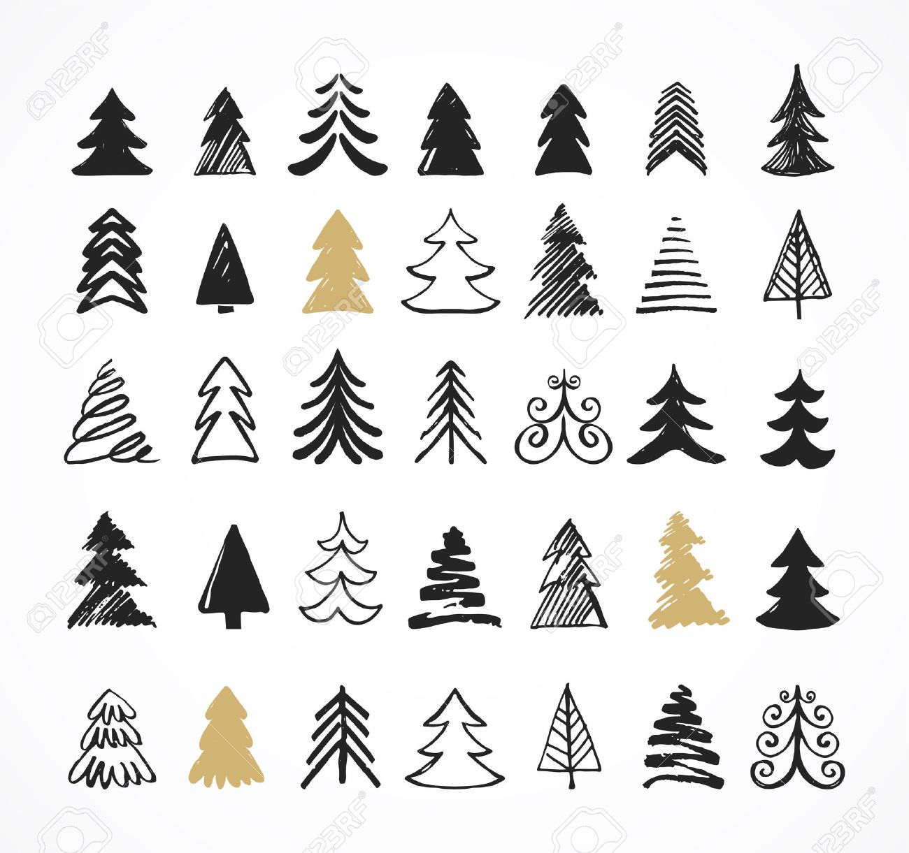 Christmas Tree Icons.Hand Drawn Christmas Tree Icons Doodles And Sketches