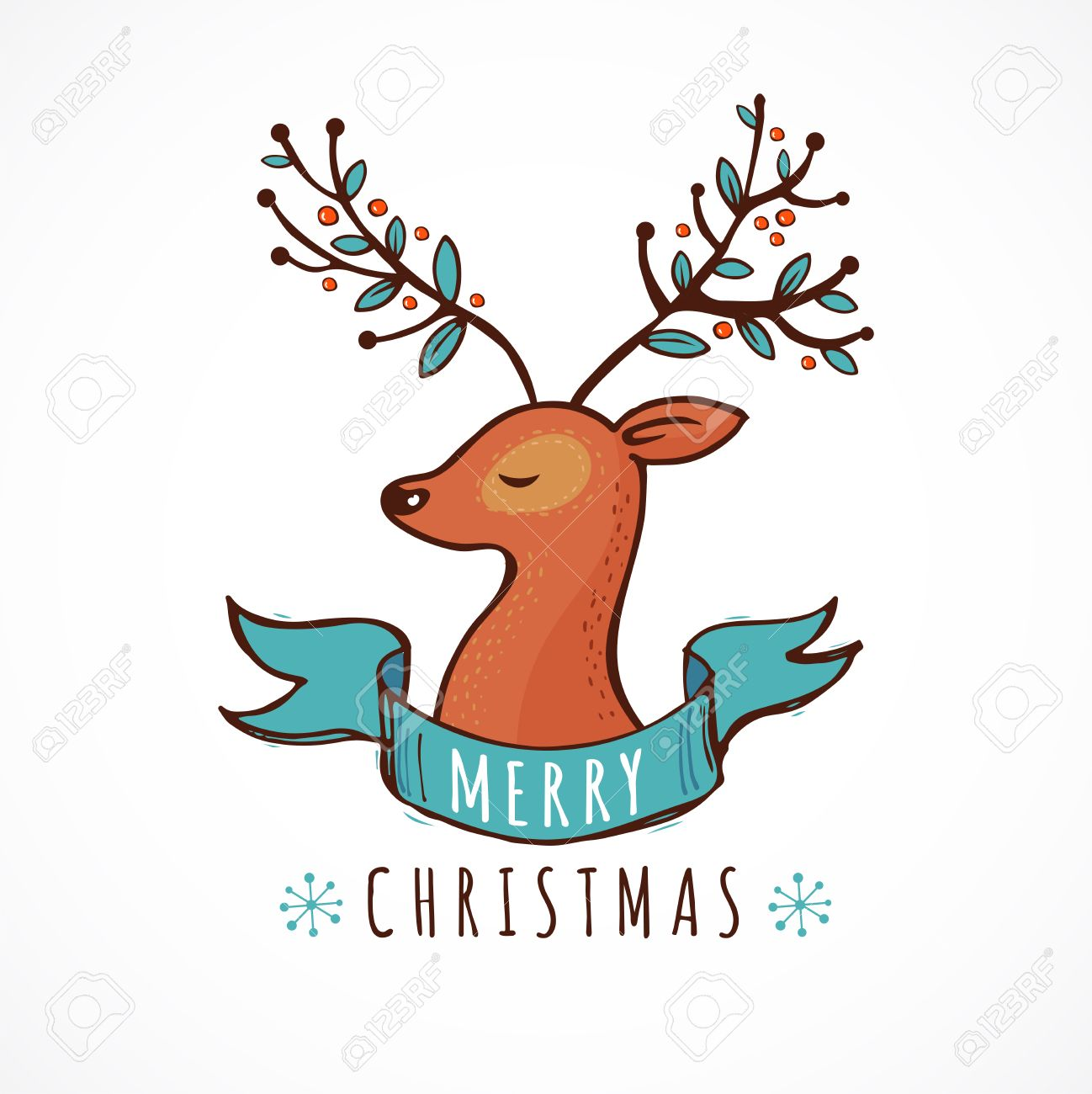 Christmas Backgrounds Cute.Christmas Background And Greeting Card With A Cute Deer Illustration
