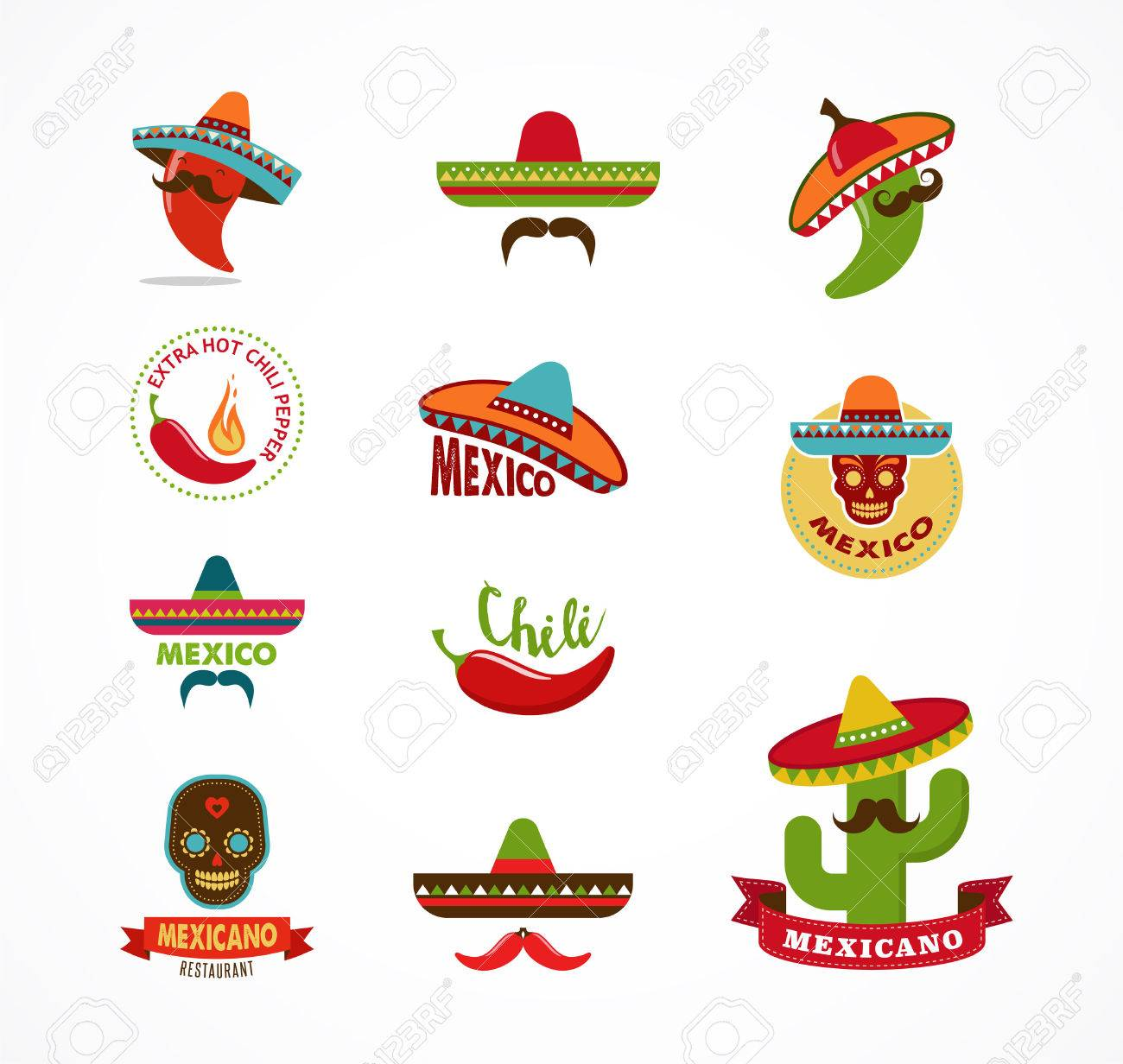 Mexican Food Icons Menu Elements For Restaurant And Cafe Royalty