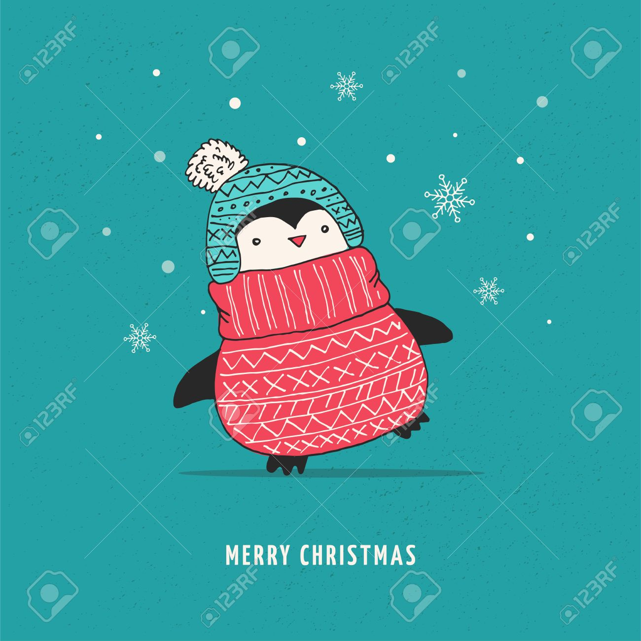 Cute Doodle Vector Penguin With Sweater - Merry Christmas Greetings ...