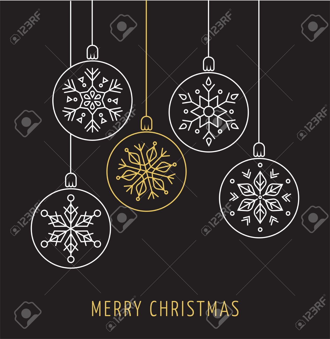 snowlakes geometric line art christmas ornaments background stock vector