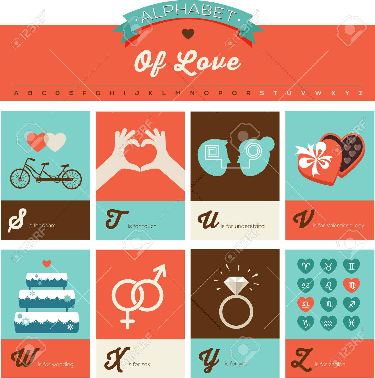 Valentines Day And Love Abc Alphabet Poster And Greeting Cards