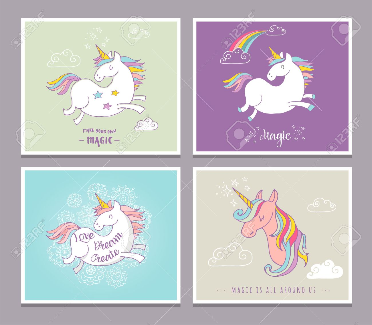 Magic Cute Unicorns And Rainbow Birthday Cards Greetings Invite Stock Vector