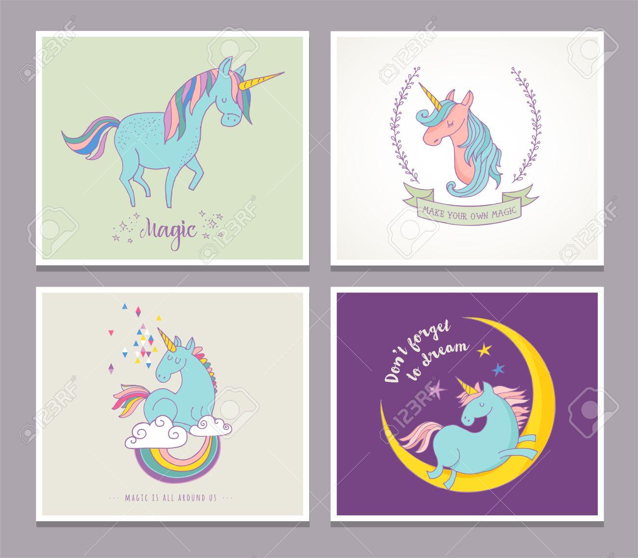 Magic Cute Unicorns And Rainbow Birthday Cards Greetings Invite Stock Vector