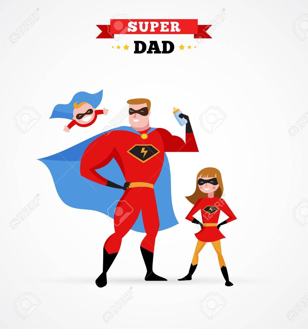 Super Papa Amusant De Faire En Costume De Super Heros Avec Des Enfants Clip Art Libres De Droits Vecteurs Et Illustration Image 52823912