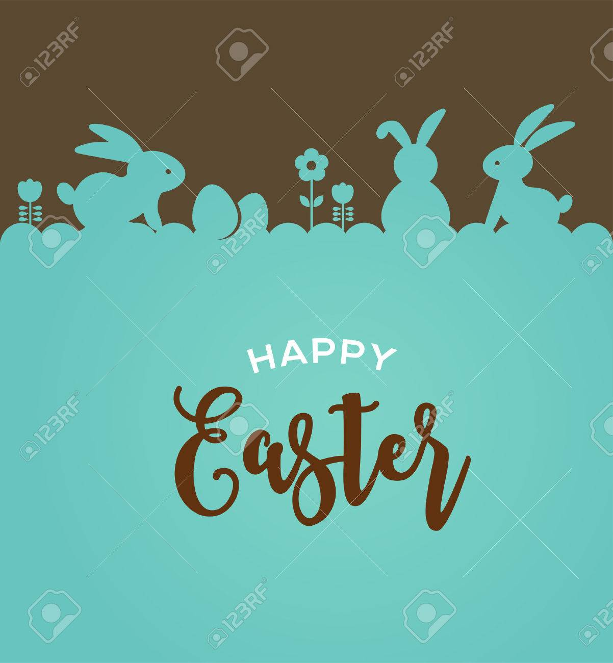 Easter design with cute banny and lettering, hand drawn vector illustration - 52823918