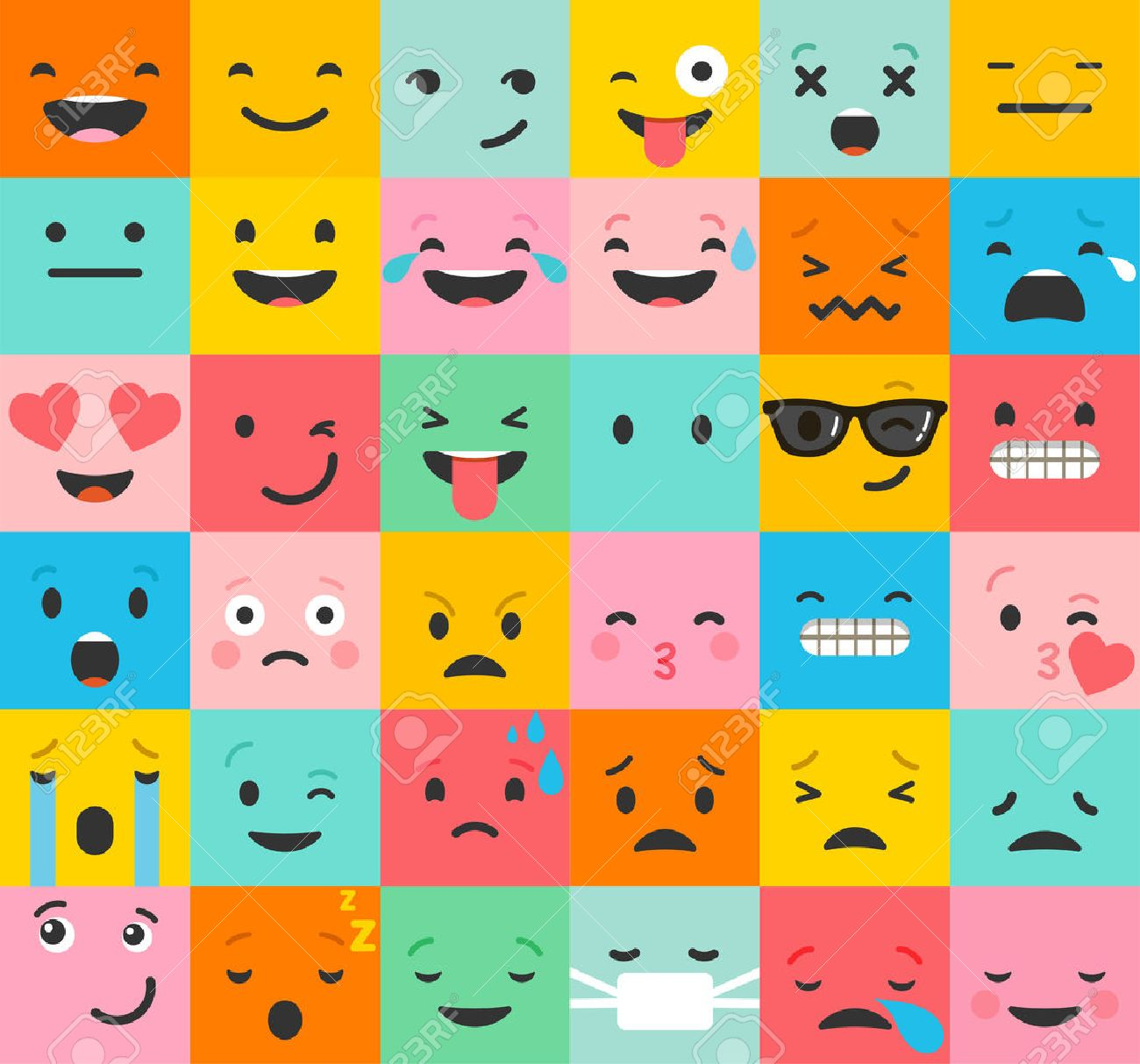 Emoticon colorful vector icons set. Emoticon faces , set of icons. Different emotions collection. Emoticon flat pattern design - 53034773
