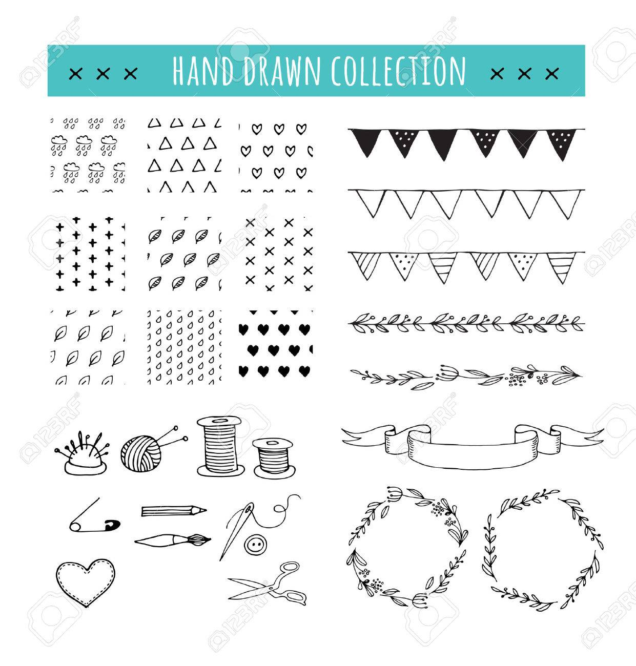 Handmade, crafts workshop icons and patterns. Hand drawn vector illustrations - 55806090