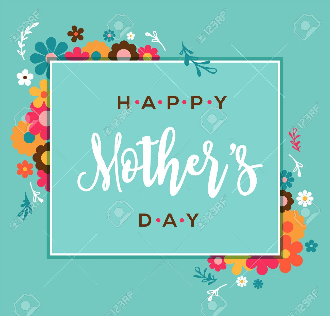 Happy Mothers Day Greeting Card And Lettering Typography Design