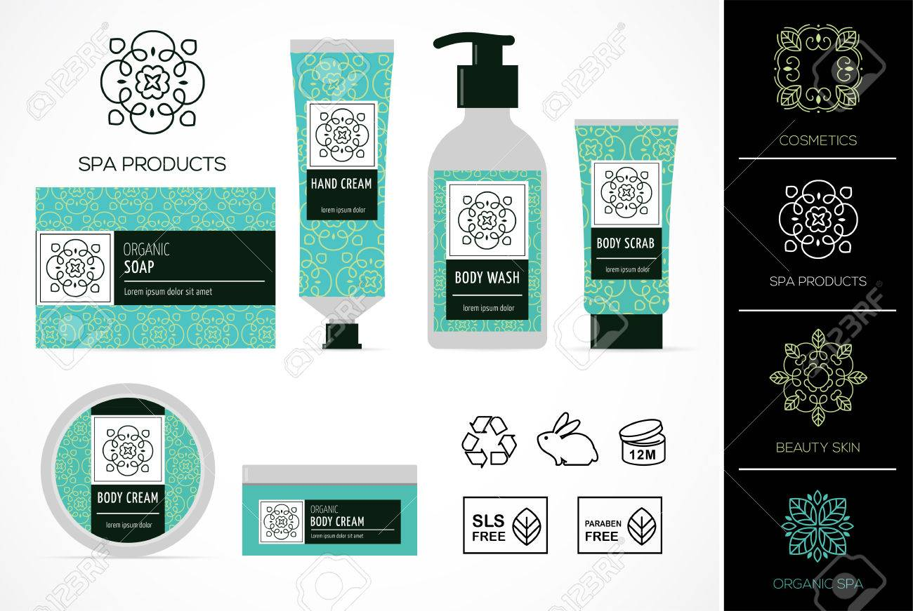 Set Of Natural Cosmetics Design Packaging Icons Paraben Free Organic Bio Product