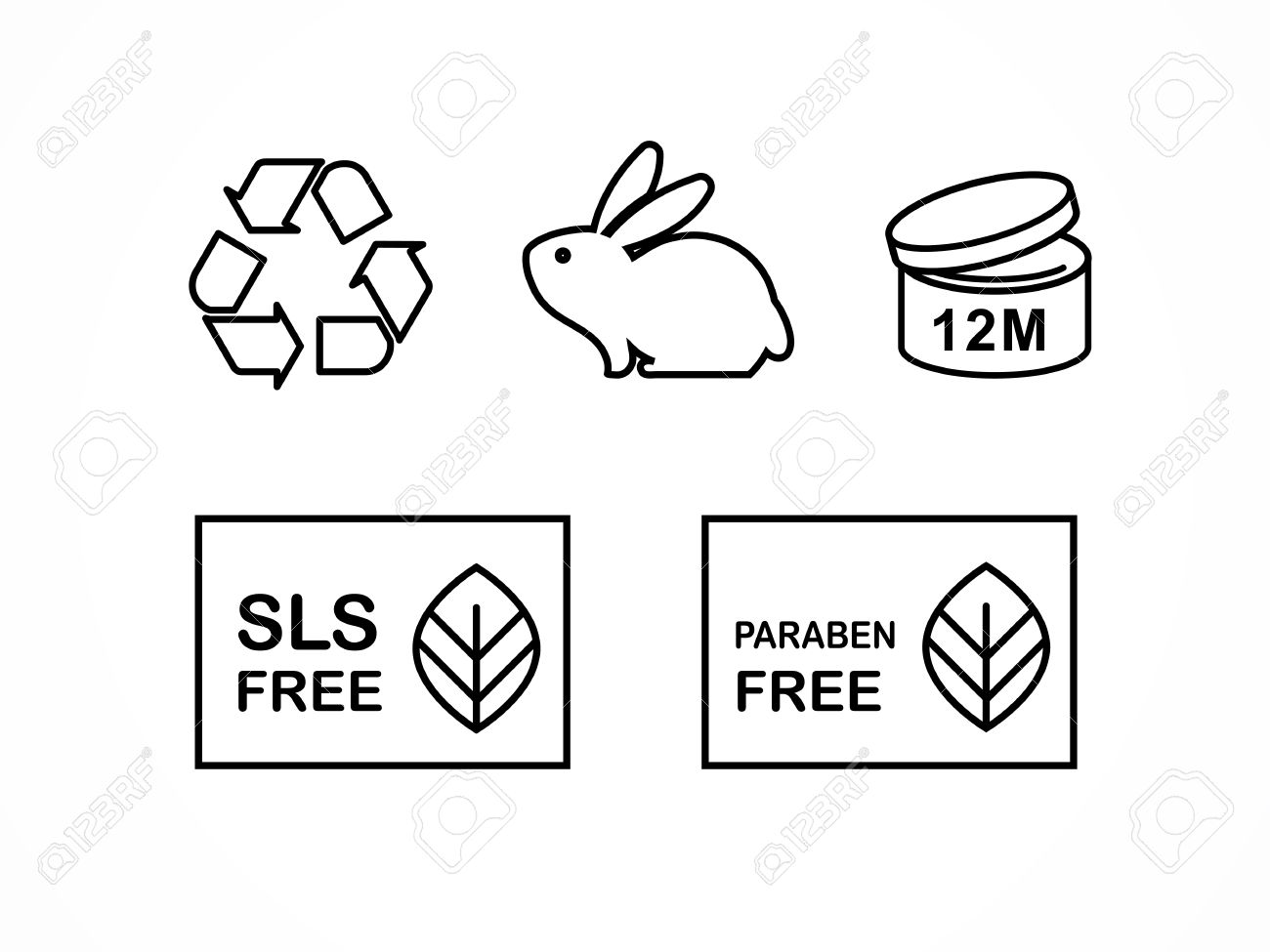 Set of natural cosmetics design packaging symbols icons paraben set of natural cosmetics design packaging symbols icons paraben free organic bio product biocorpaavc Image collections