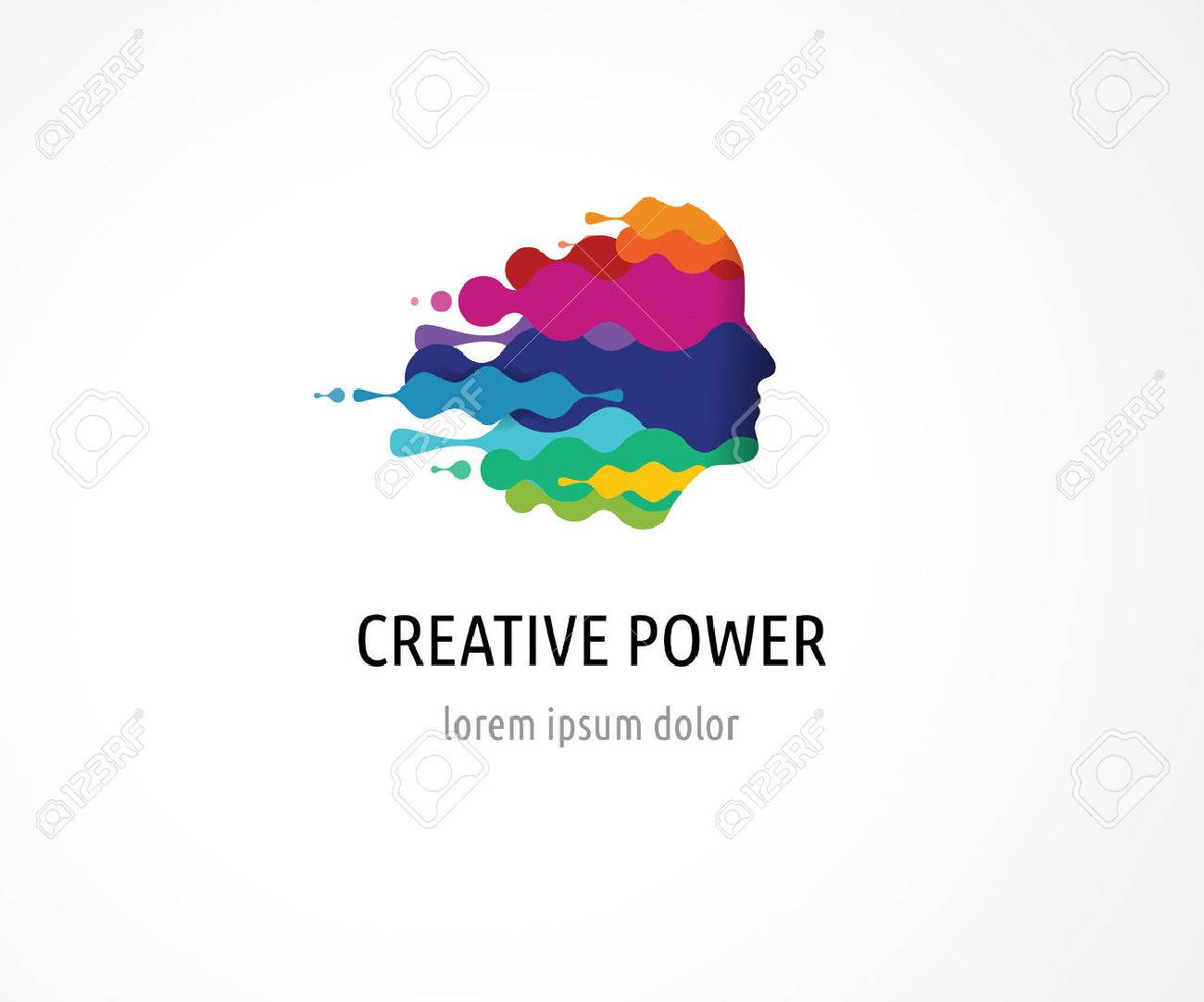 Brain, smart, Creative mind, learning and design icons. Man head, people colorful symbols - 58658856