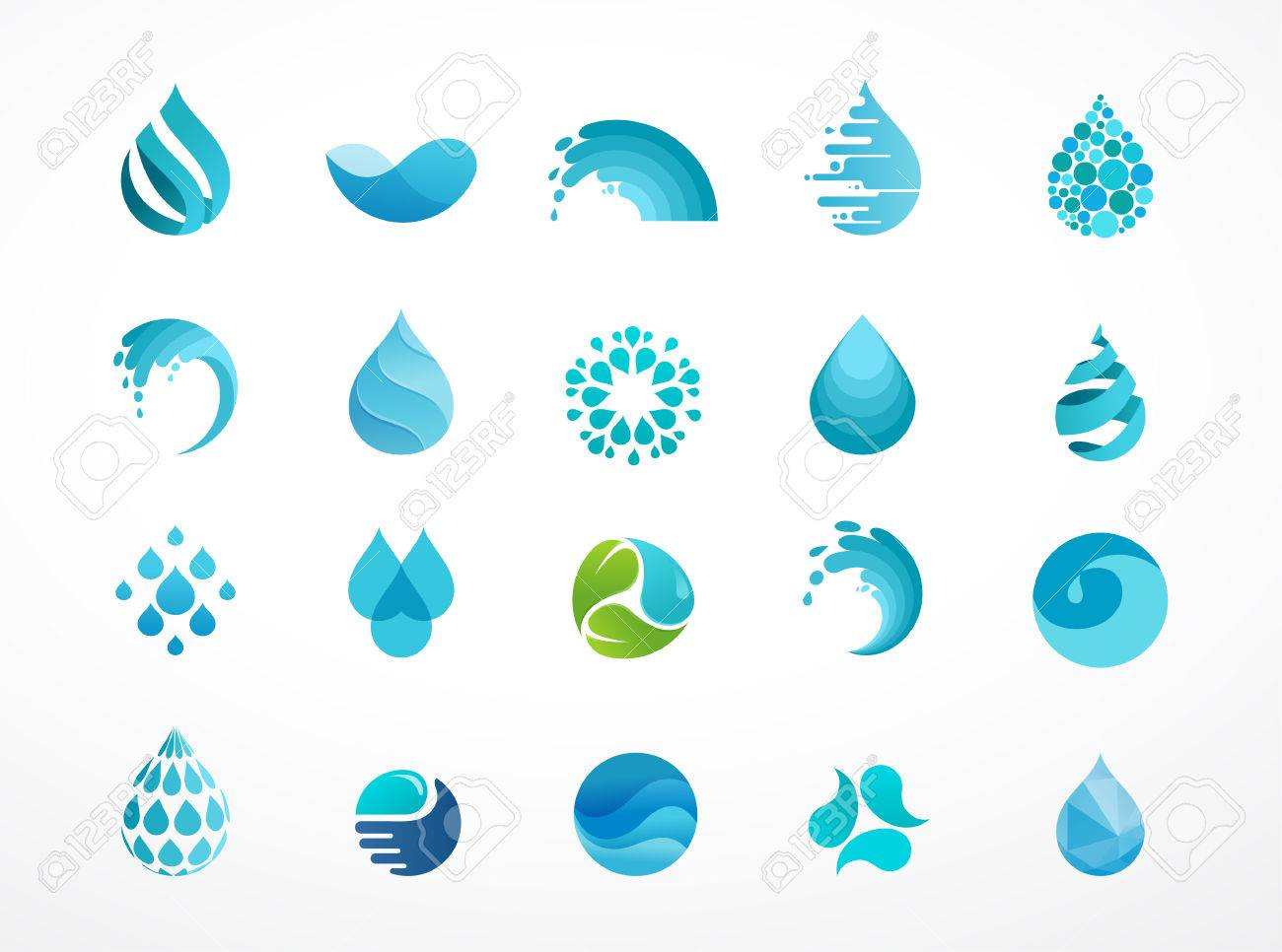 set of water, wave and drop icons, symbols - 58658824