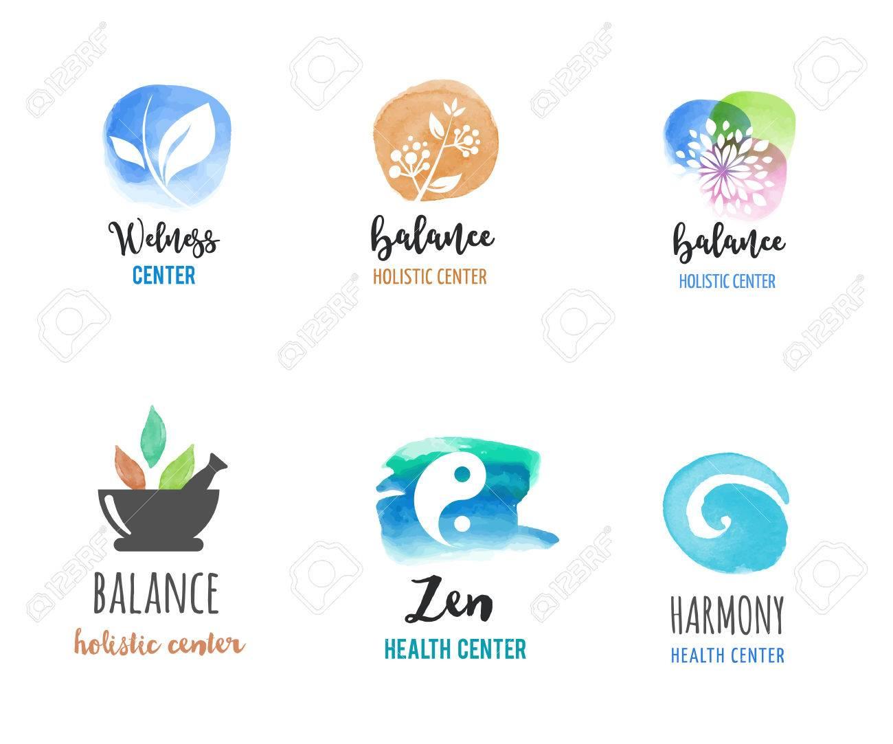 Alternative medicine and wellness, yoga, zen meditation concept - vector watercolor icons, logos - 59742759