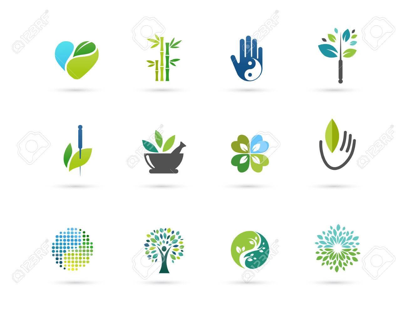 Alternative, Chinese medicine and wellness, yoga, zen meditation concept - vector icons, logos - 59738124