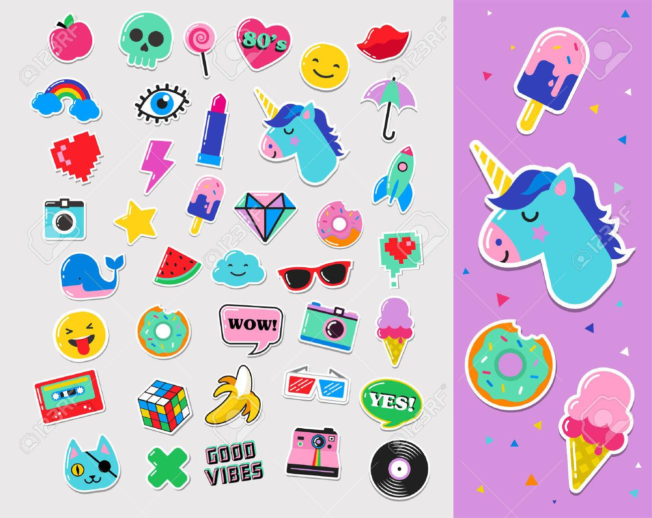 Pop art fashion chic patches, pins, badges, cartoons and stickers - 64662928