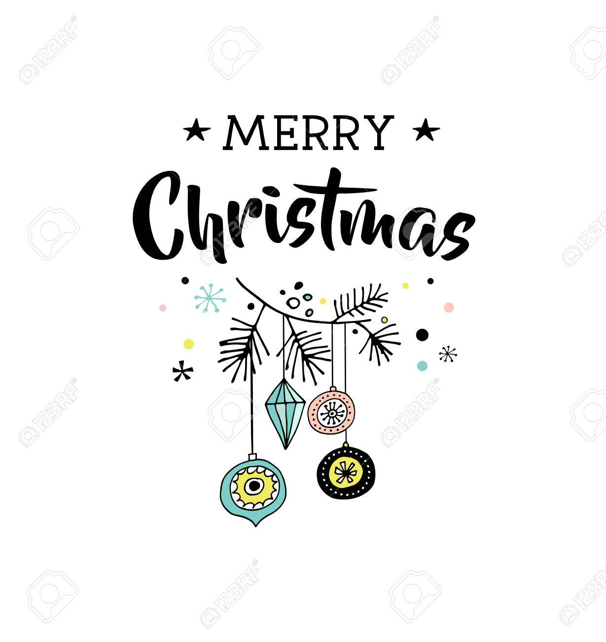 Merry Christmas Hand Drawn Cute Doodle Illustration And Greeting