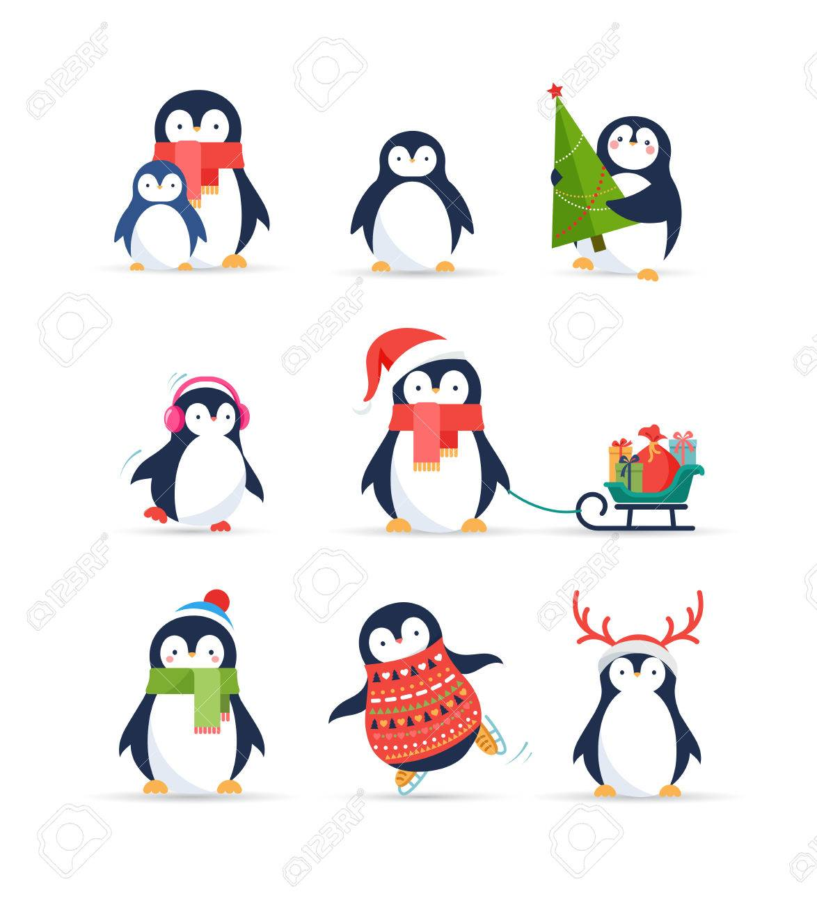 かわいいペンギン セット イラスト クリスマスのご挨拶のイラスト素材