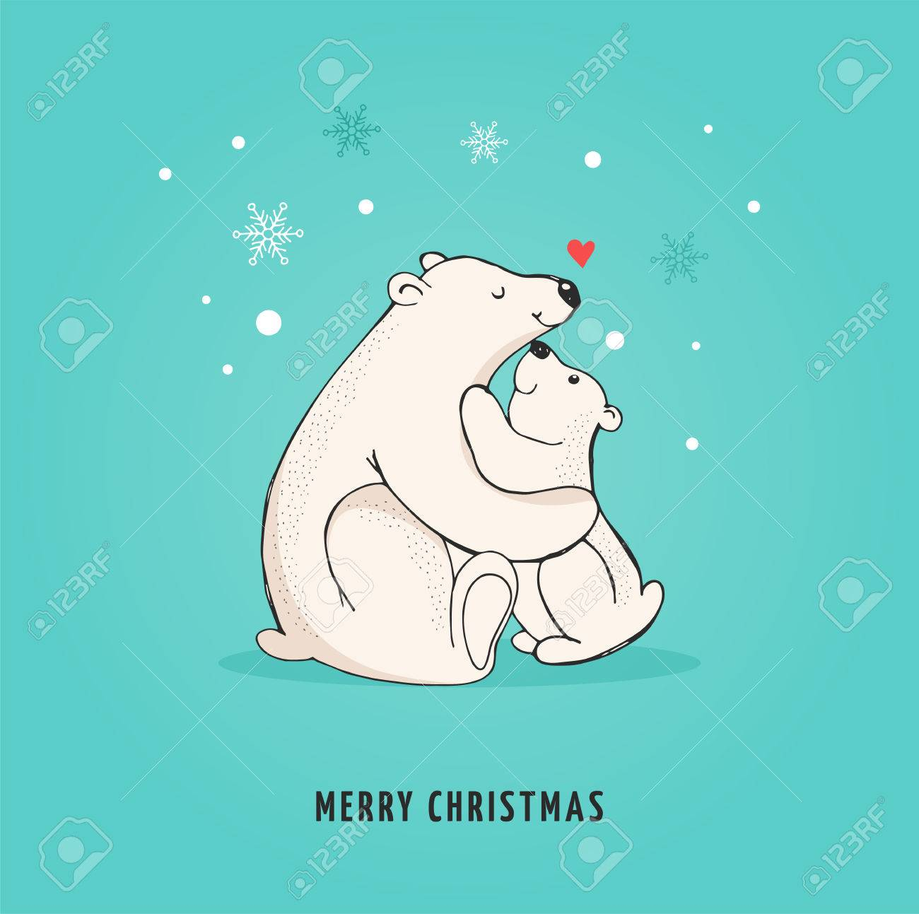 Hand Drawn Polar Bear Cute Bear Set Mother And Baby Bears