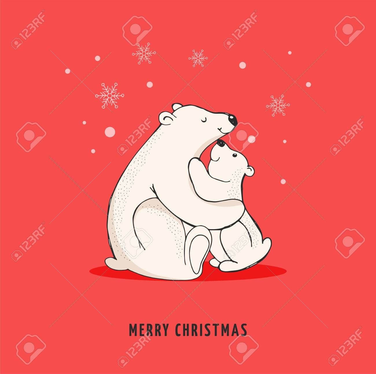 Hand Drawn Polar Bear Cute Bear Set Mother And Baby Bears Couple