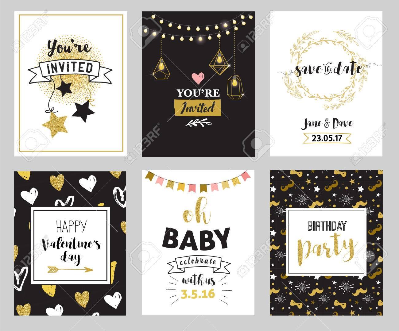 Küken Hochzeit Glitzer Abzeichen Und Aufkleber, Labes Und Einladungen.  Gold Herzen, Sprechblasen