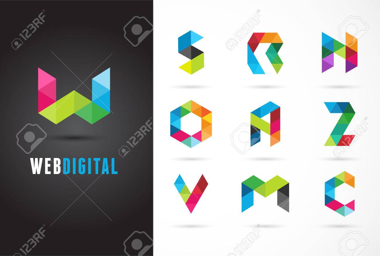 Creative Digital Letter Colorful Icons Element And Symbol
