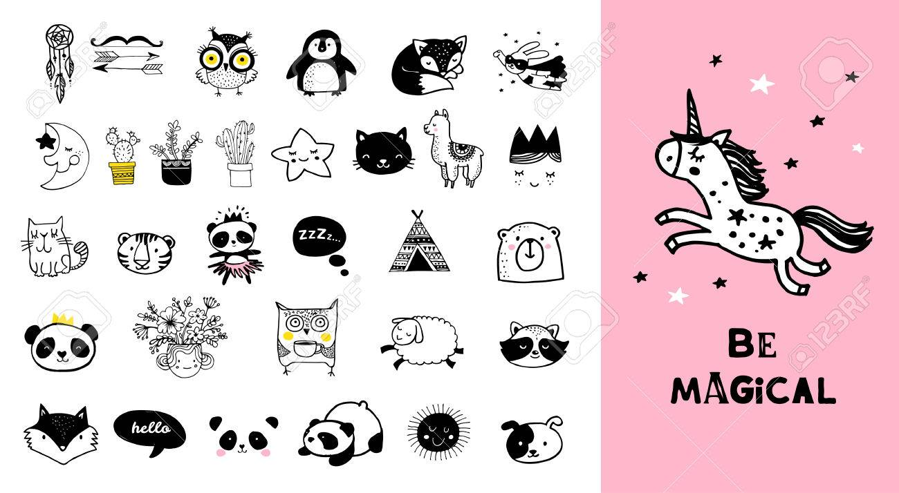 Scandinavian style simple design clean and cute black white illustrations collection stock