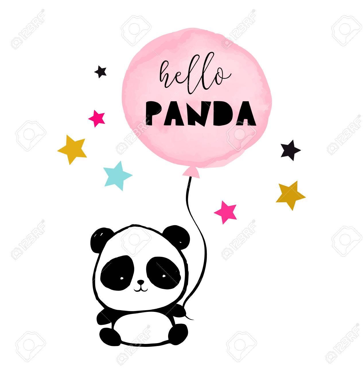 かわいいパンダ クマのイラスト、シンプルなスタイルのカード、ポスター