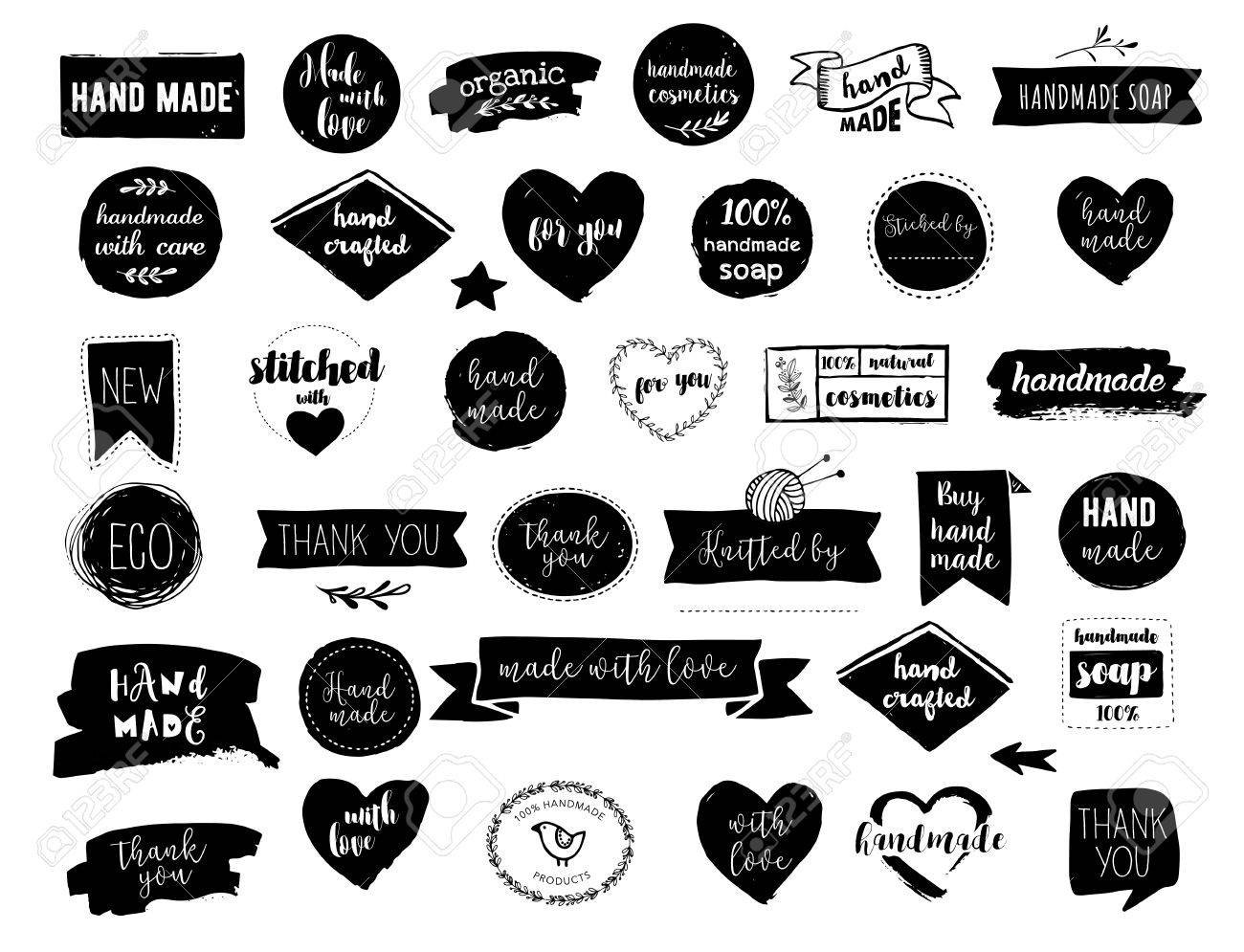 Hand drawn vector - handmade, craft, knitting and art labels, tags with lettering - 70039721