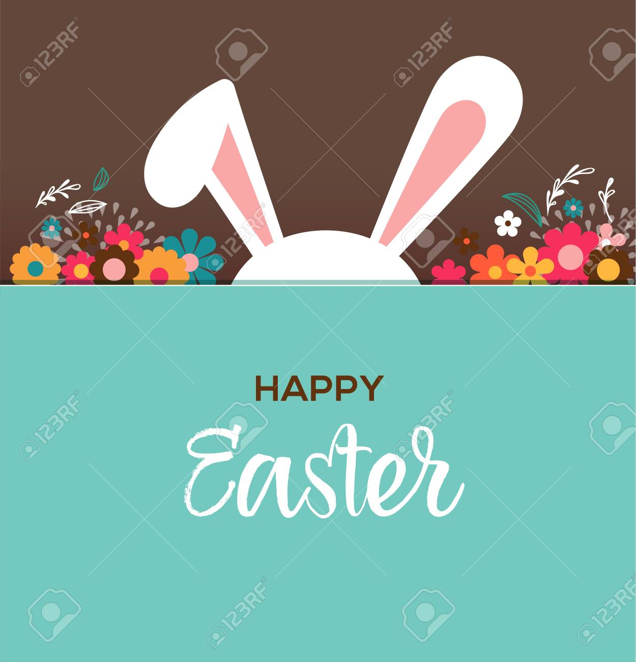 Happy easter greeting card poster with cute sweet bunny royalty happy easter greeting card poster with cute sweet bunny stock vector 73109317 m4hsunfo