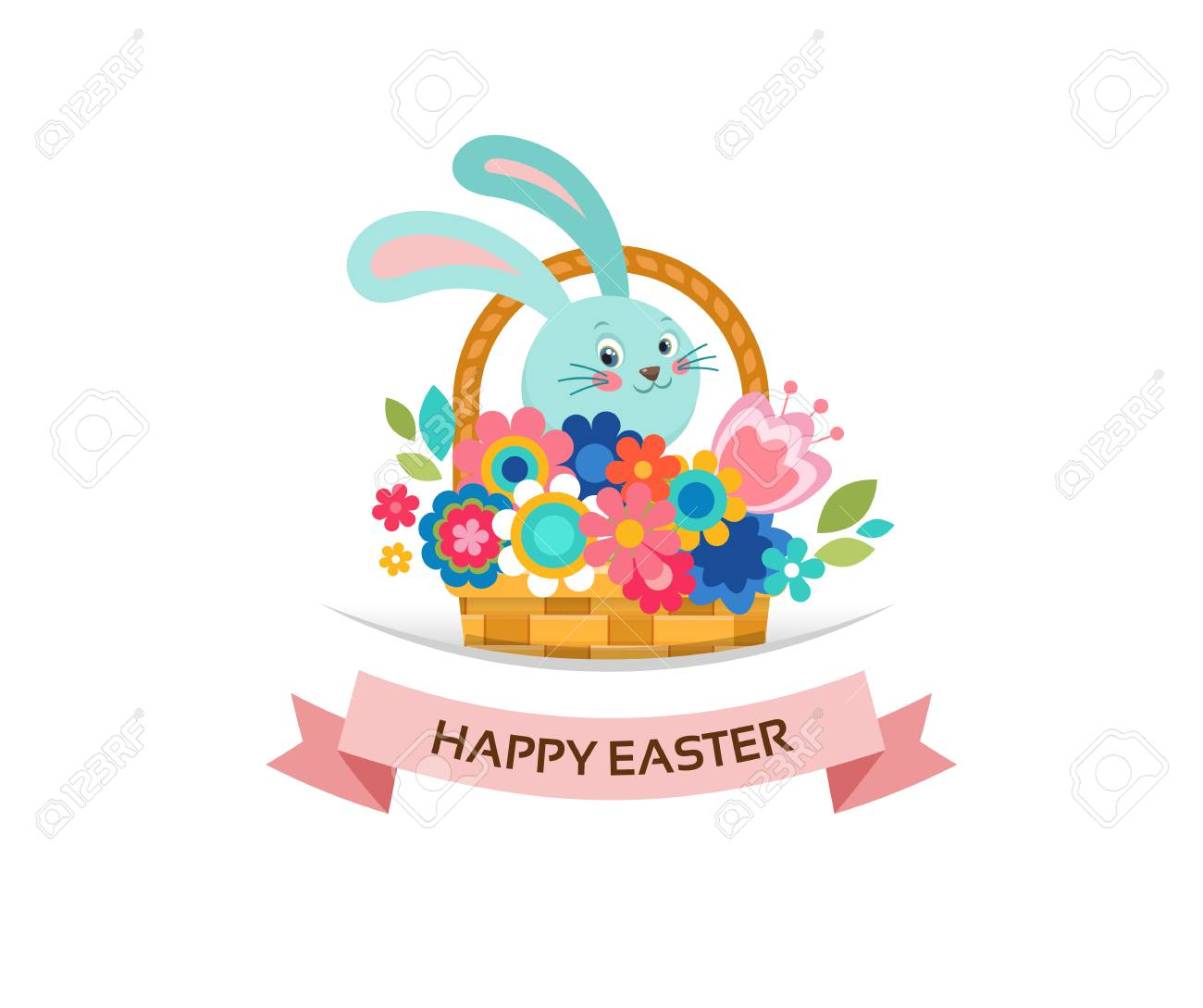 Happy Easter Greeting Card Bunny In Basket With Flowers And