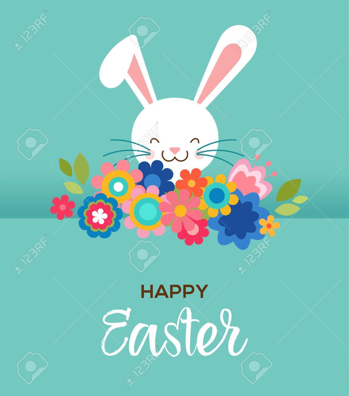 Frohe Ostern Grußkarte Poster Mit Niedlichen Süßen Hasen Und