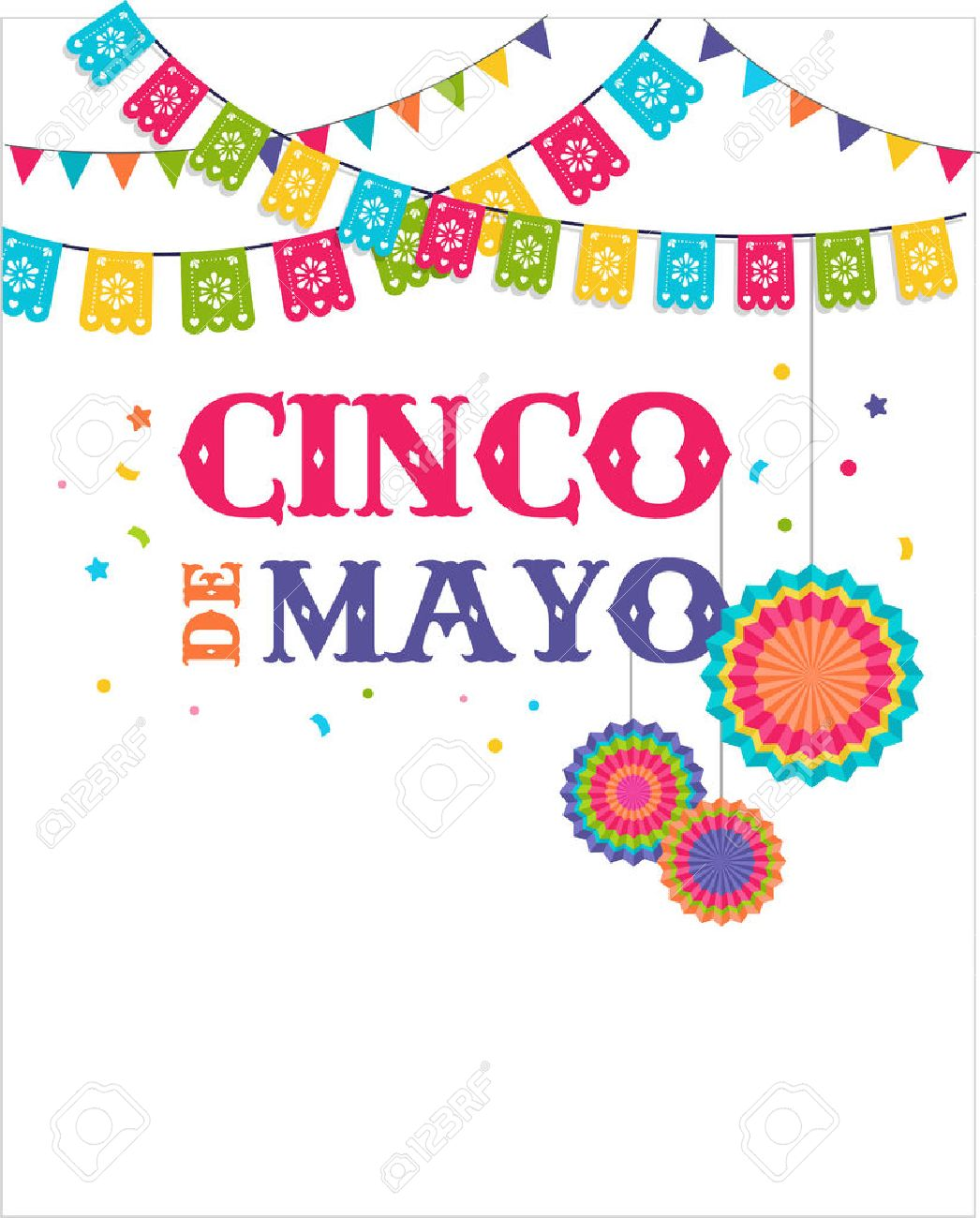 Cinco De Mayo Mexican Fiesta Banner And Poster Design With Flags