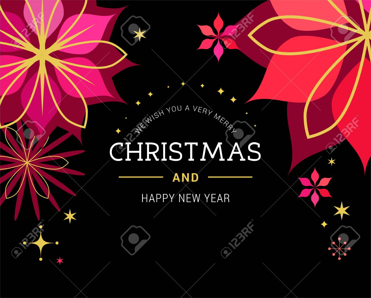 christmas red classic background greeting card banner with xmas flowers ornaments and lettering