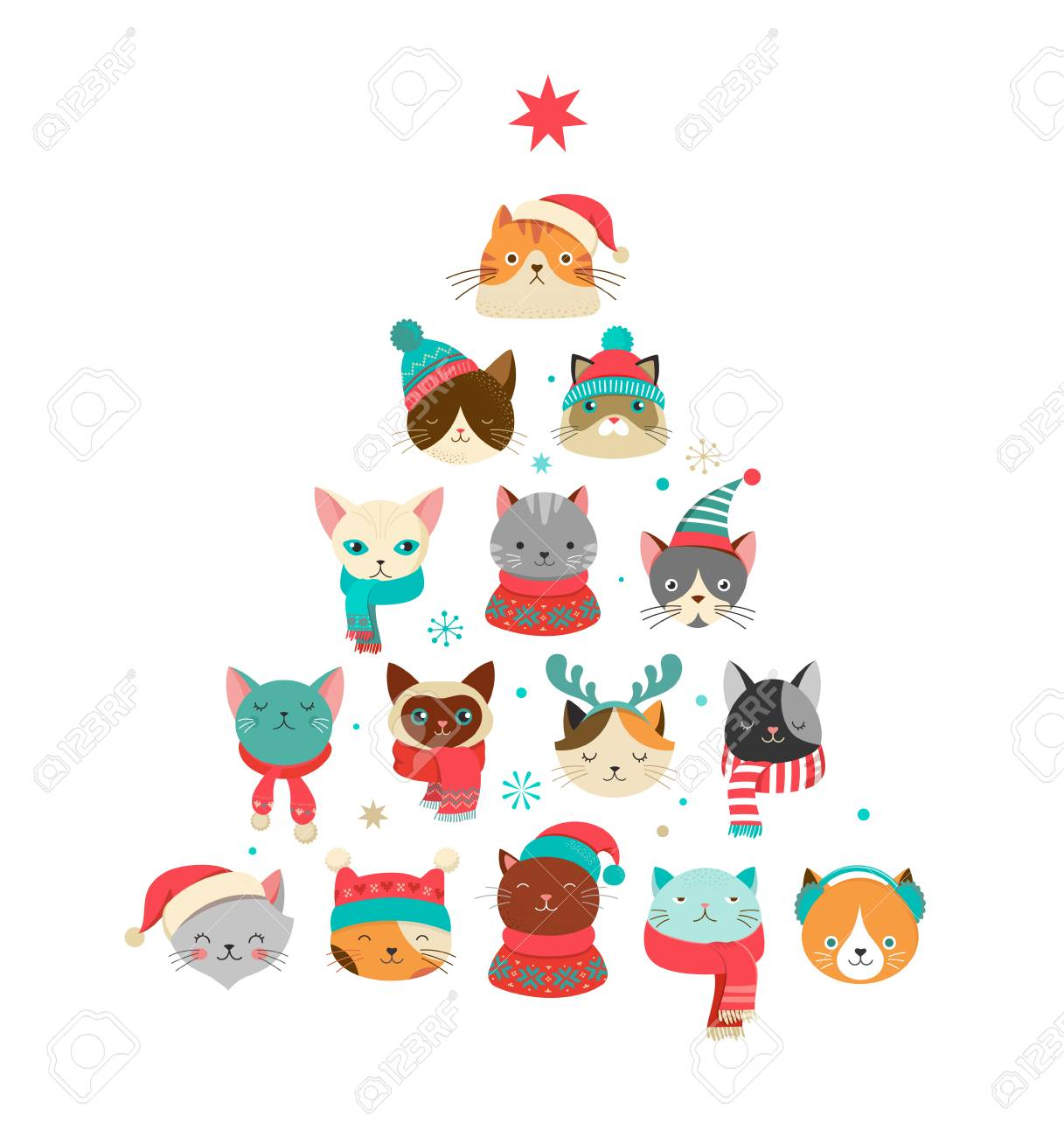 Christmas Illustrations.Collection Of Christmas Cats Merry Christmas Illustrations Of