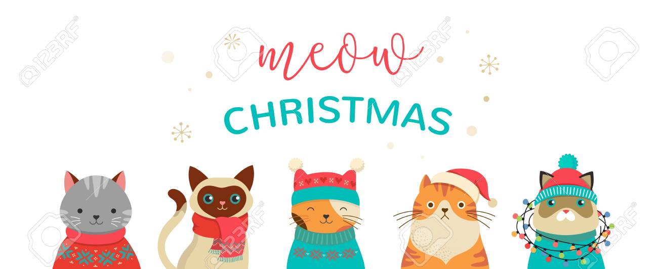Merry Christmas Illustration.Collection Of Christmas Cats Merry Christmas Illustrations Of