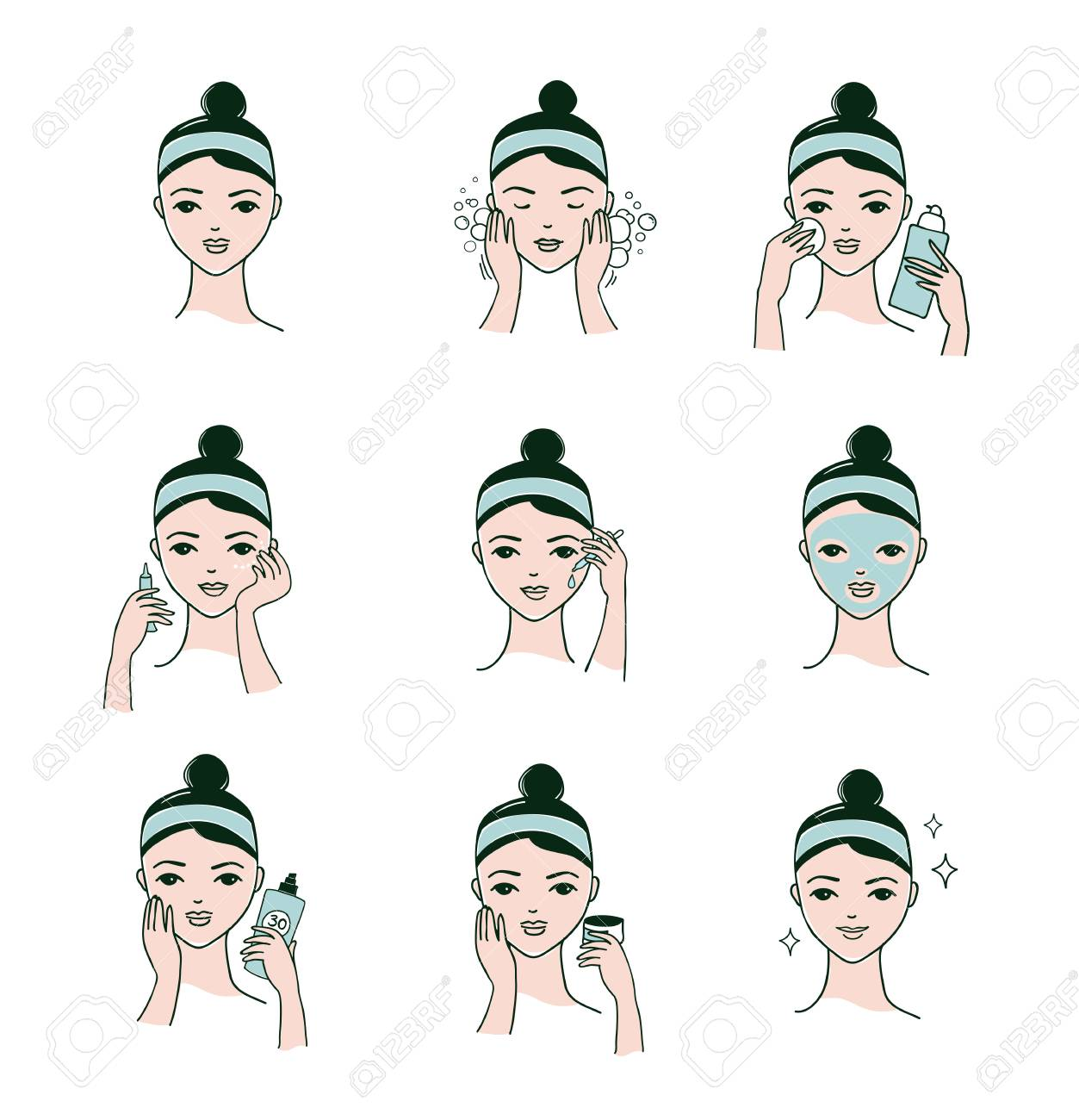 Skin Care Routine Simple Woman Face With A Different Facial Royalty Free Cliparts Vectors And Stock Illustration Image 90315594