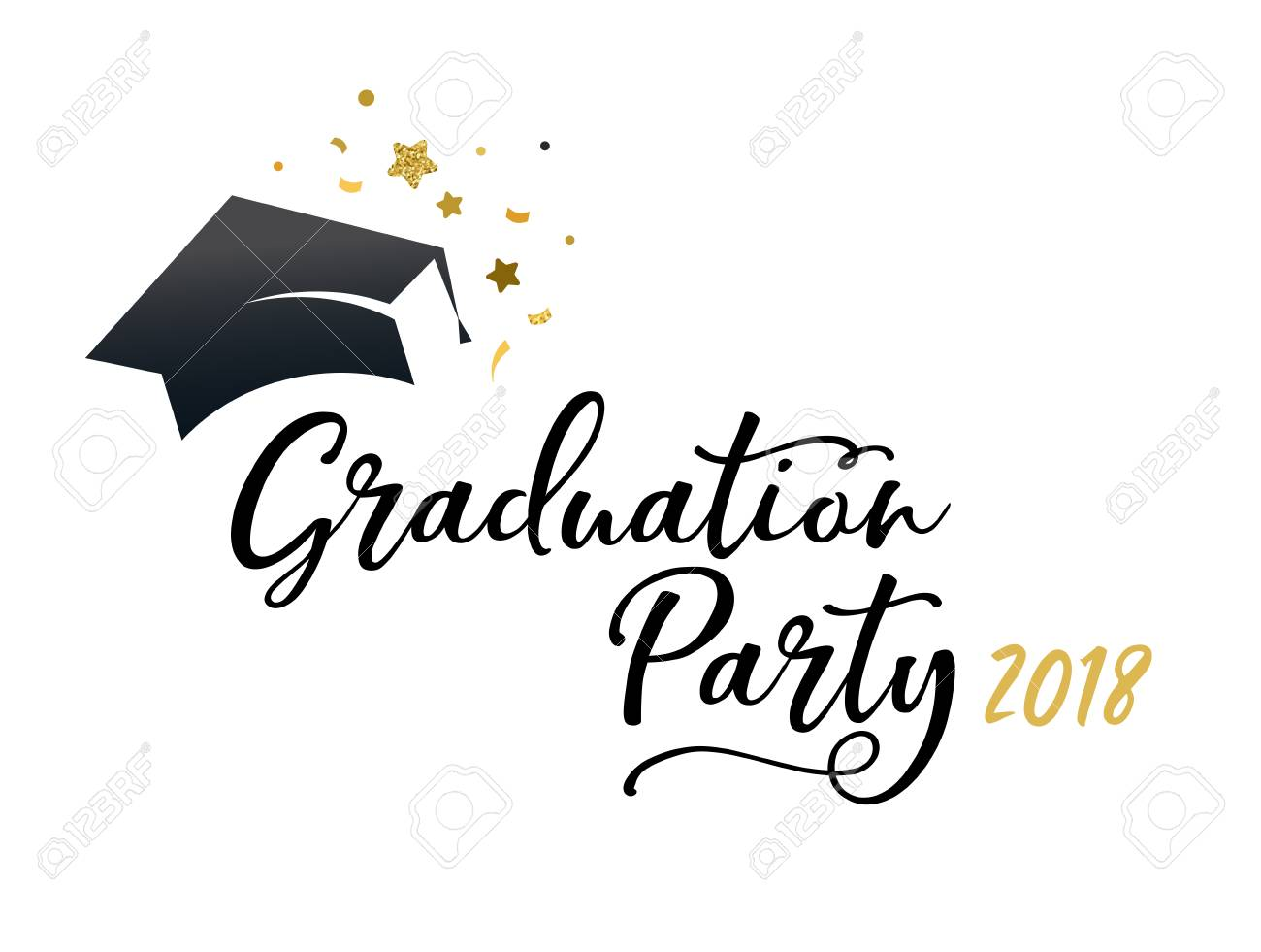 Graduation Class Of 2018, Party Invitations Isolated On Plain ...