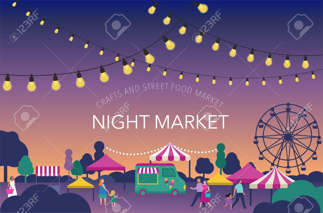 Night market, Summer fest, food street fair, family festival poster and banner colorful design - 102464492