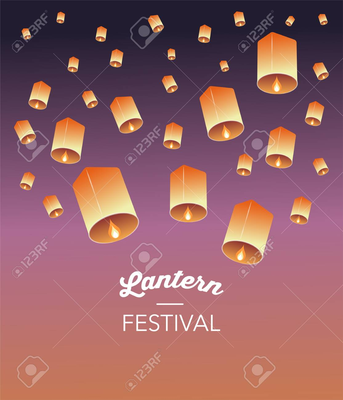 Sky Lantern Festival, Chinese, Thai and Japanese flying lanterns