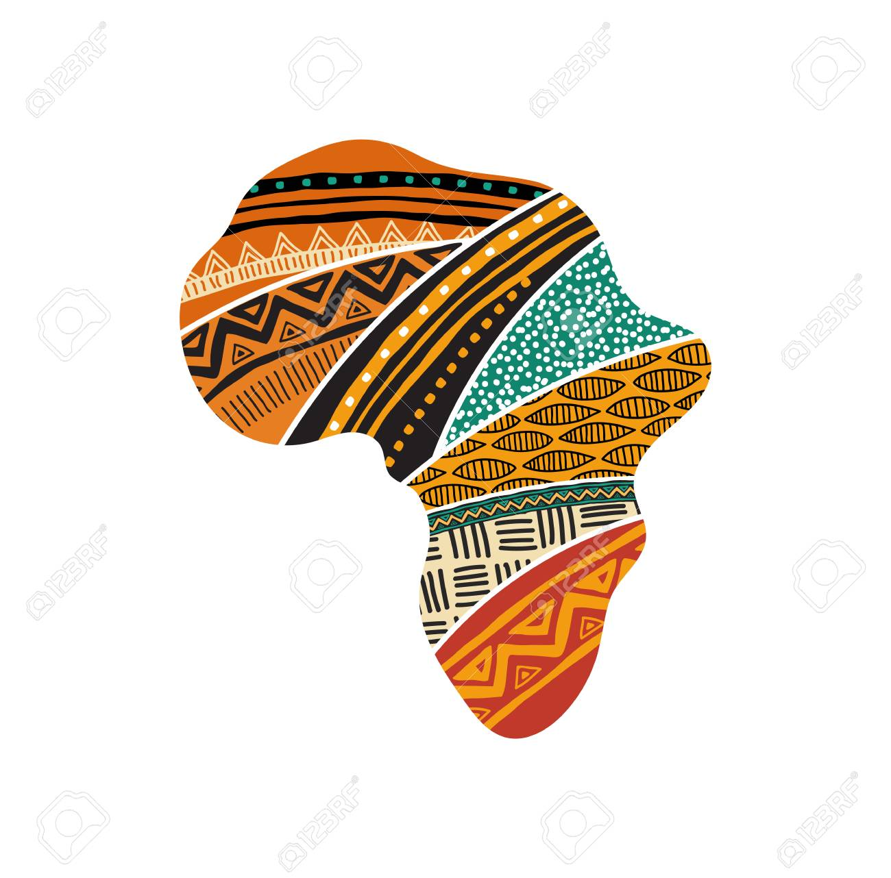African Map Silhouette With A Traditional Pattern. Concept Design
