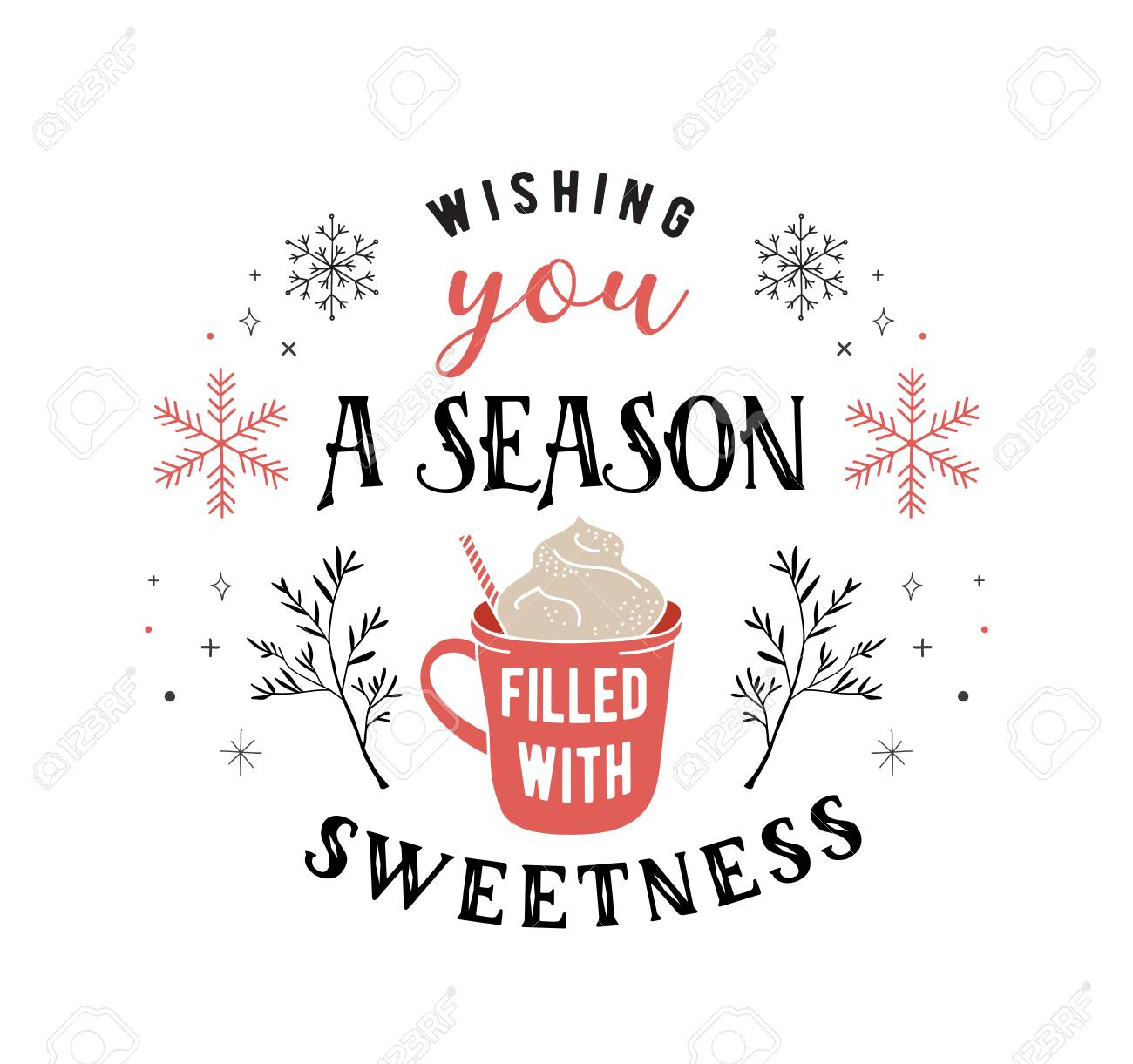 Scandinavian style, simple and stylish Merry Christmas greeting card with hand drawn elements, quotes, lettering - 108844973