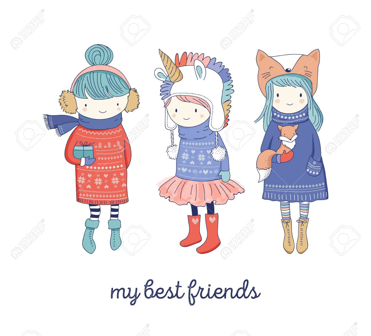 f5eda31dc9c8 Hand Drawn Beautiful Cute Little Winter Girls Collection. Merry ...