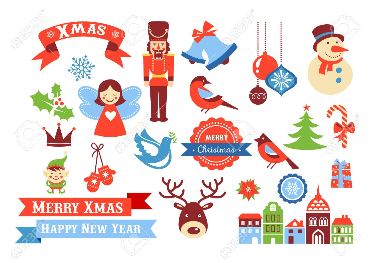 Merry Christmas icons, retro style elements and illustration, tags and sale labels - 110256213